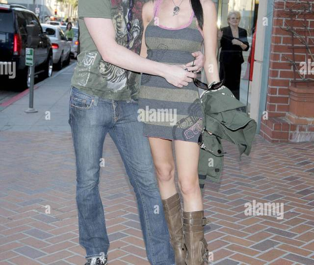 Wayne Static From The Band Static X And Wife Tera Wray Out And About In Beverly Hills Los Angeles California