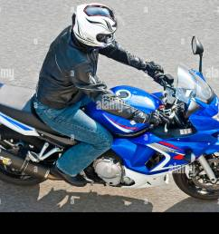 overhead view motorcyclist on blue suzuki gsx 650 motorbike france  [ 1300 x 953 Pixel ]