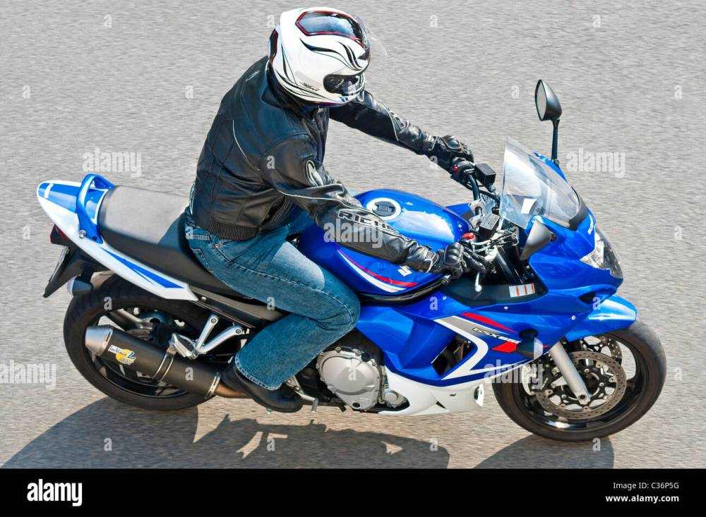 medium resolution of overhead view motorcyclist on blue suzuki gsx 650 motorbike france