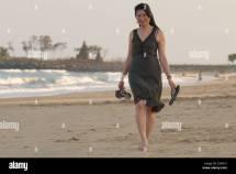Good Asian Woman Walking Indian Beach Sunset