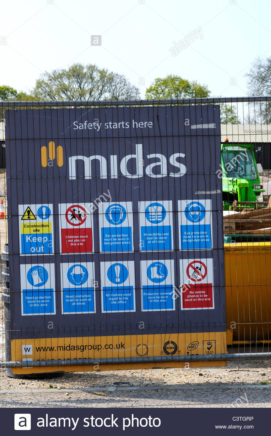 Site Safety Signs Entrance Construction Stock Photos