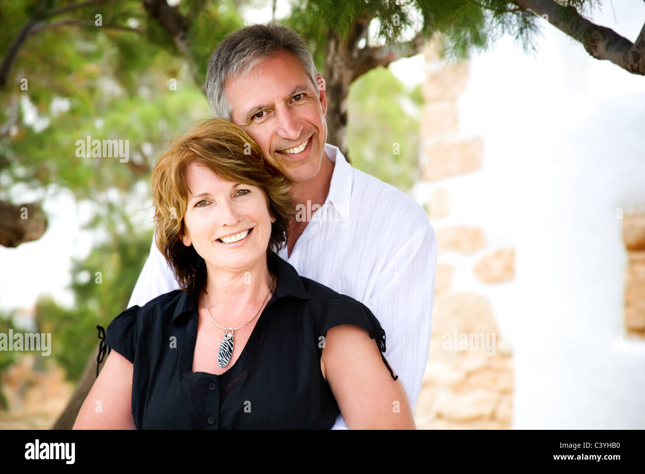 mature couple smiling and
