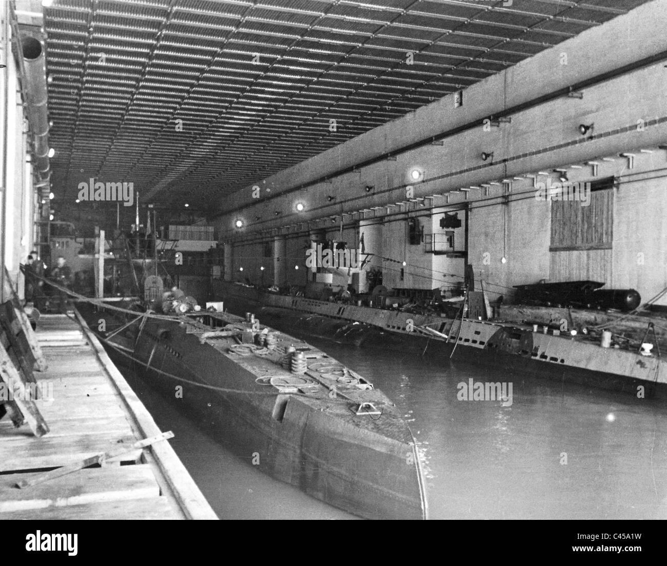 hight resolution of german u boats in a u boat bunker in france 1943 stock