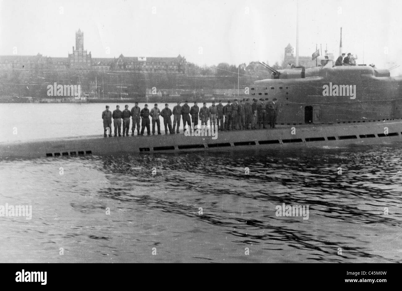 hight resolution of german u boat type xxi in the port of muerwik 1945 stock image