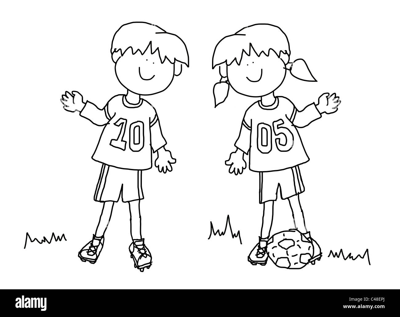 Fun Boy And Girl Cartoon Outline Playing Soccer Or