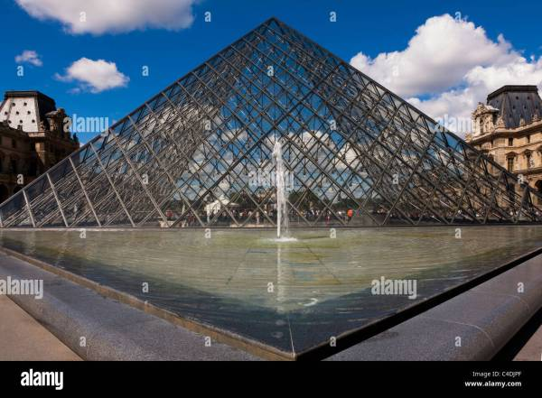 Glass Pyramid Entrance Louvre Museum Paris France Eu Stock