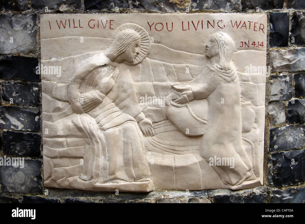 christian stone carving of