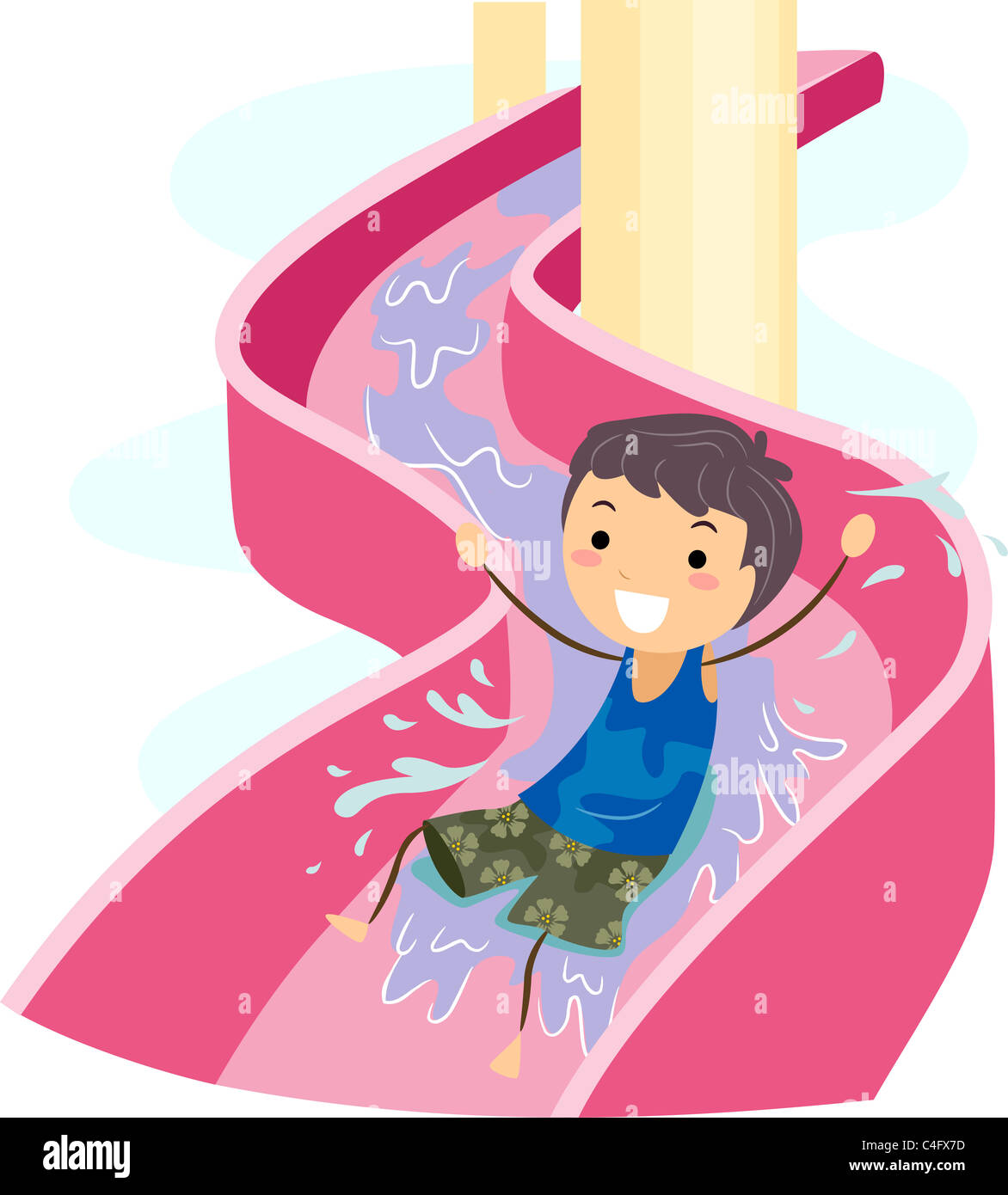 Rutsche Clipart Illustration Of A Kid On A Water Slide Stock Photo