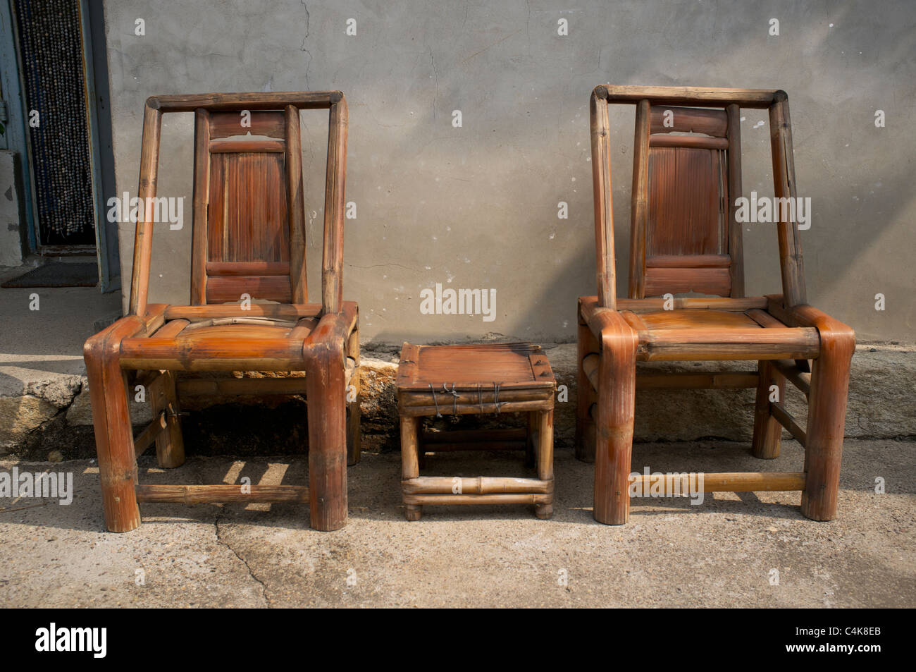 bamboo chairs white outdoor rocking chinese stock photo 37303123 alamy