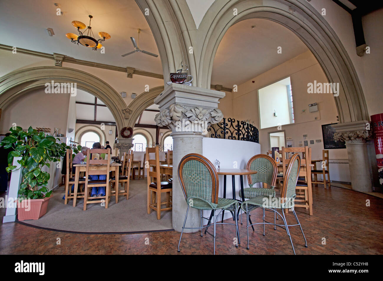 chair cover hire shrewsbury picnic time reclining camp tea rooms in the old church shropshire stock photo