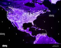 Satellite image of night lights of North and Central ...