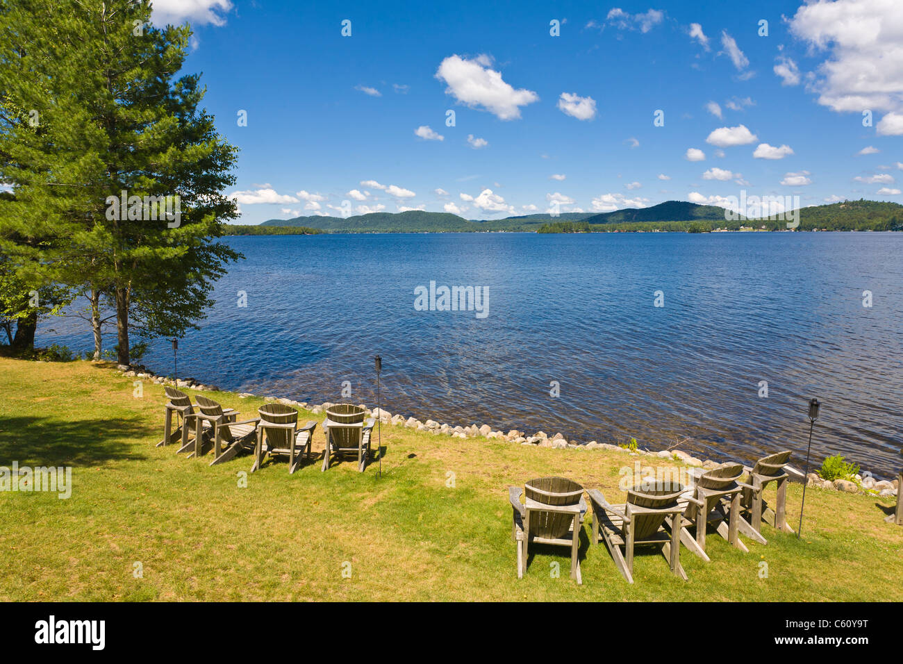 new river adirondack chairs red jasper lawn stock photos and