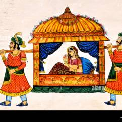 Chinese Wedding Sedan Chair Pub Tables And Chairs Wall Painting Of A Maharani Being Carried By Bearers In