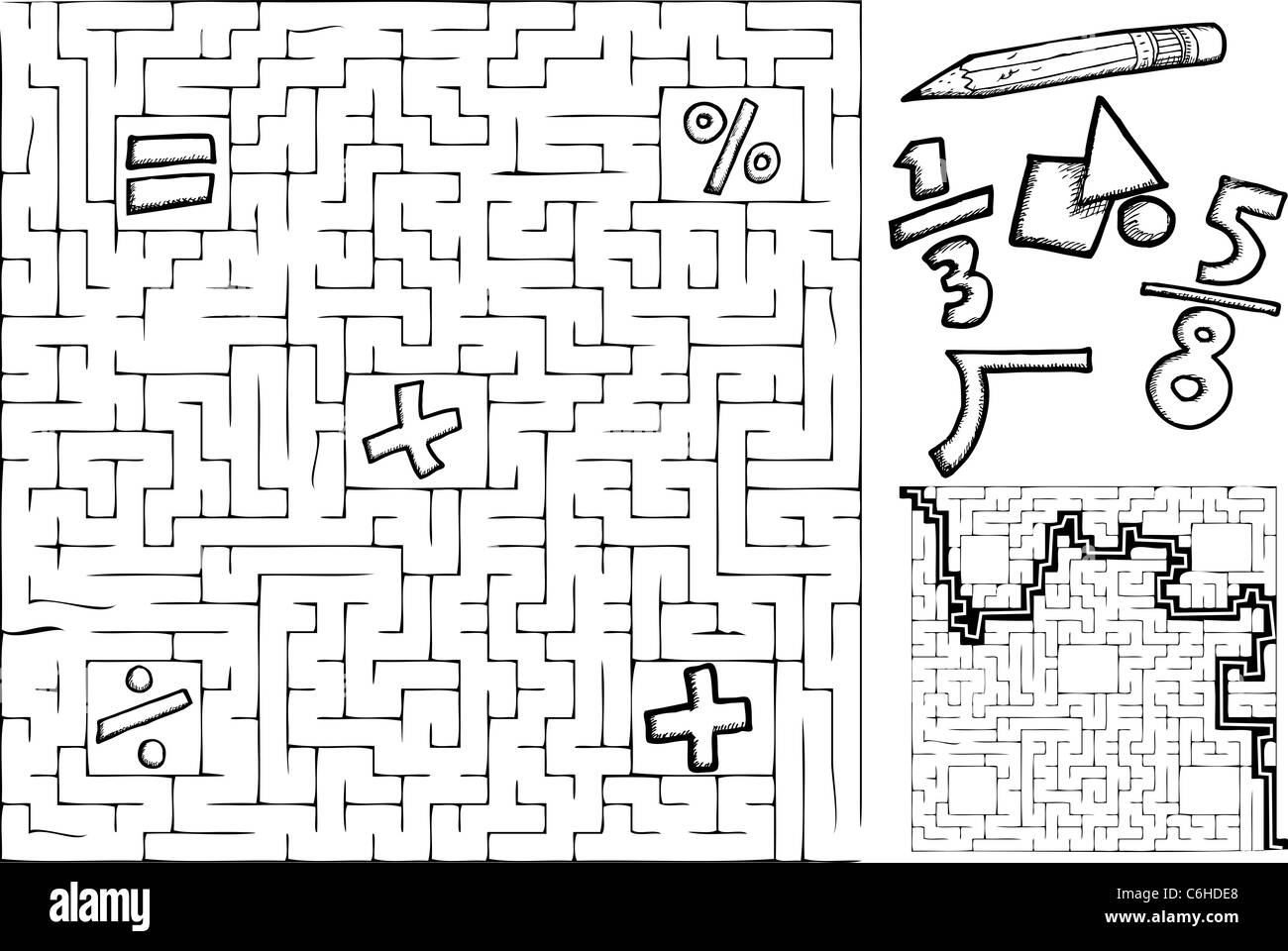 Coloring Page Math Maze With Interchangeable Symbols With