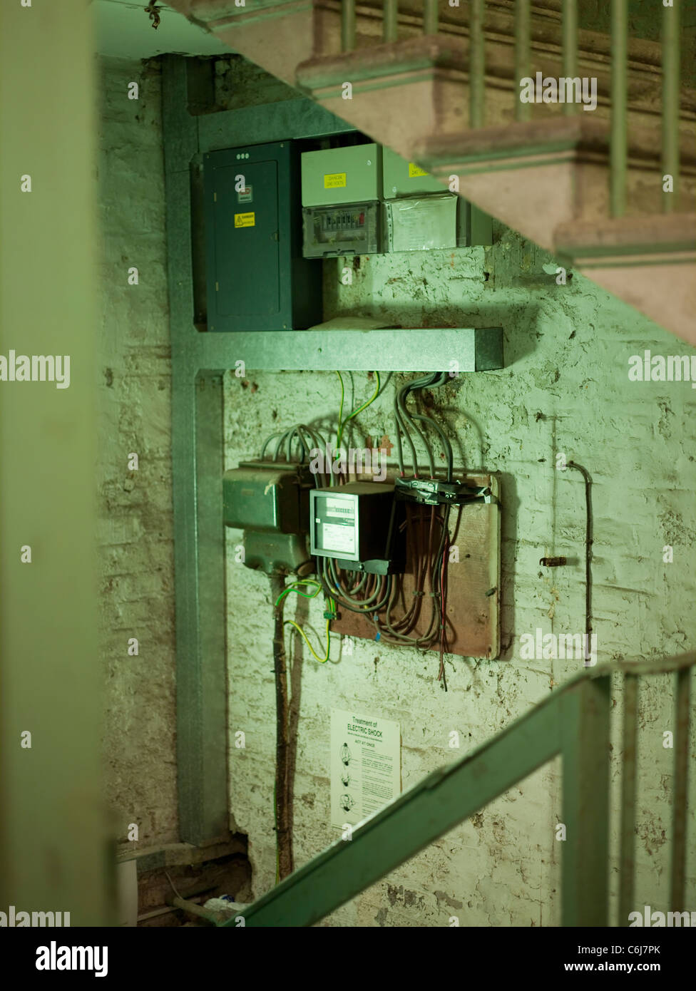 hight resolution of collection of fuse box and electricity meters in an old building stock image