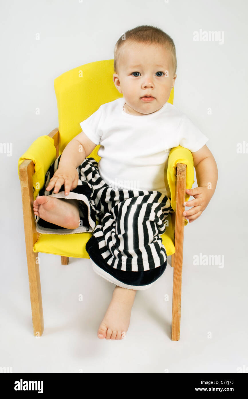 Chair Pants Little Boy Sitting On Chair In Striped Pants Stock Photo 39330345