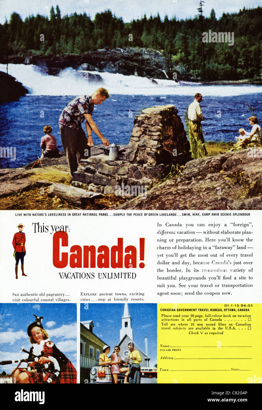 American Magazine Advertisement Circa 1954 Advertising Vacations In Stock Photo Alamy