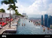 Singapore, Asia, Marina Bay hotel, hotel, pool, look ...