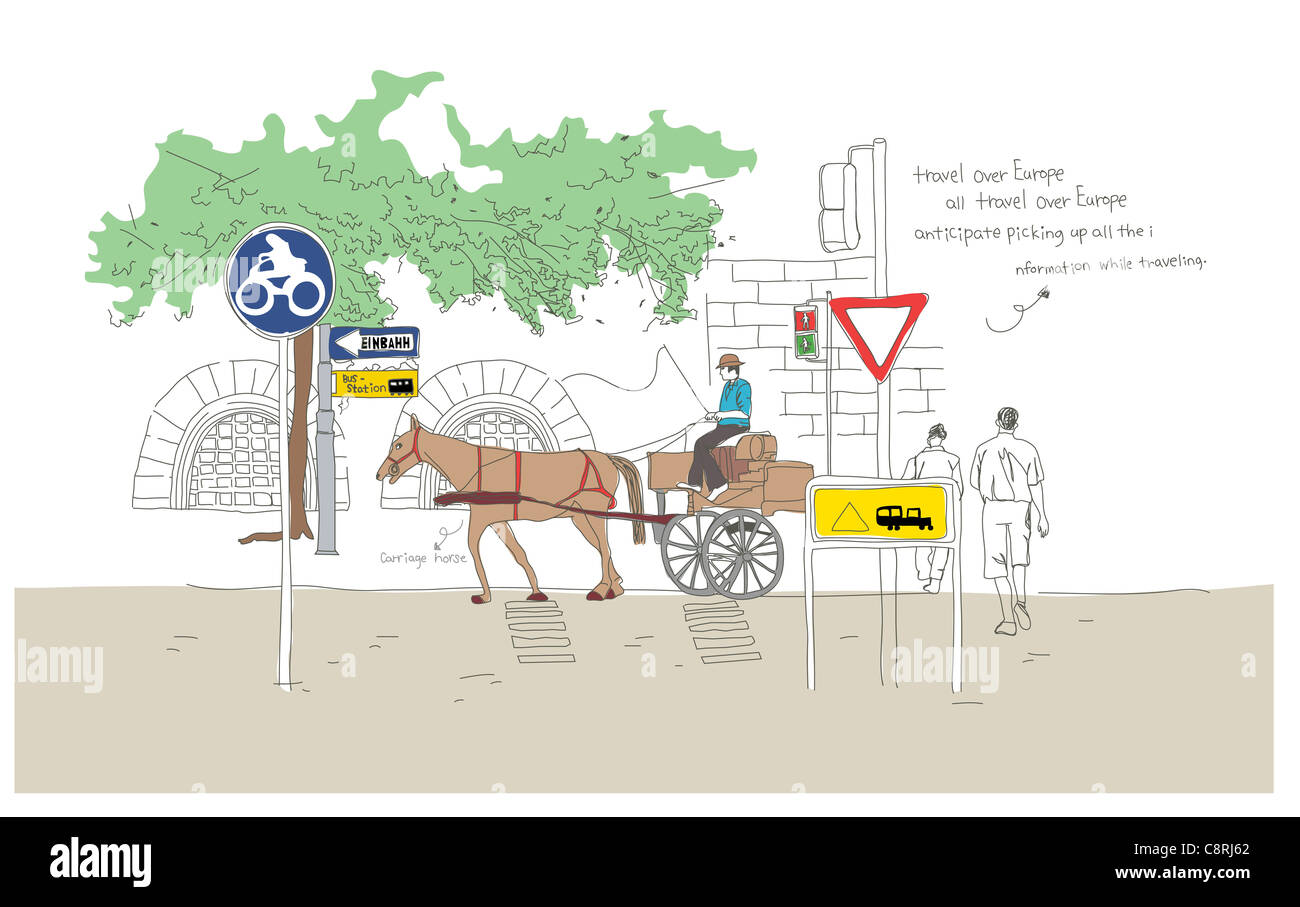 hight resolution of illustration of horse cart stock image
