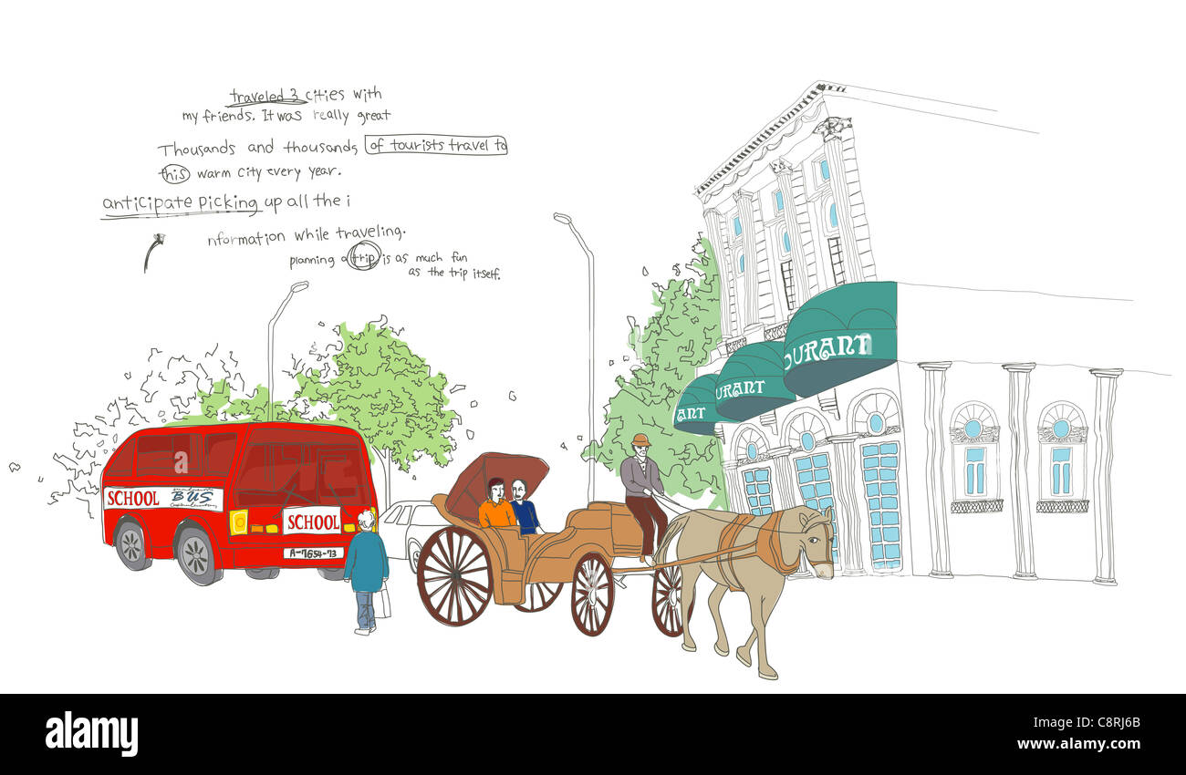 hight resolution of illustration of building horse cart and land vehicle stock image