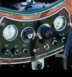 vintage classic car austen mg dashboard with real wood surround and dark [ 1300 x 956 Pixel ]