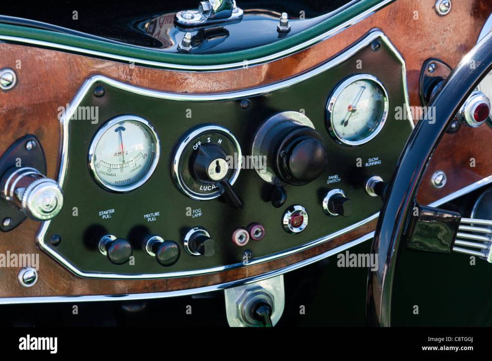 medium resolution of vintage classic car austen mg dashboard with real wood surround and dark