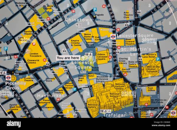 England London Leicester Square Tourist Information Map Stock 39915190 - Alamy