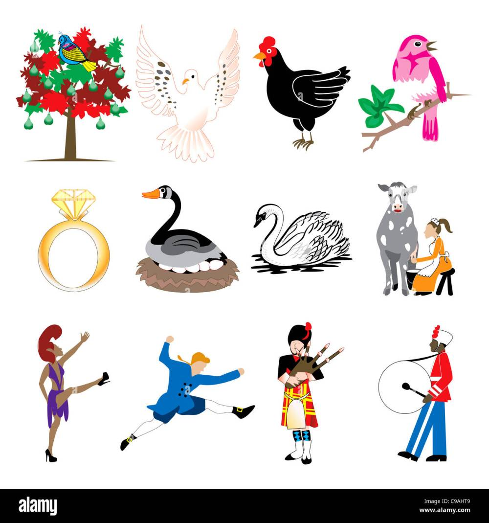 medium resolution of vector illustration card of the 12 days of christmas icons in full color stock
