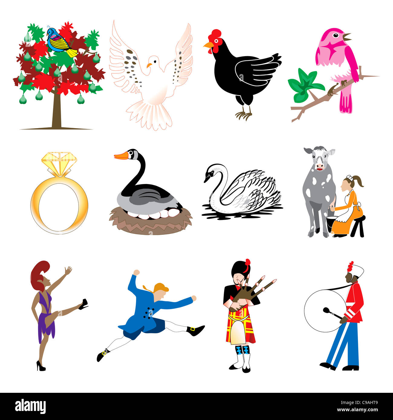 hight resolution of vector illustration card of the 12 days of christmas icons in full color stock