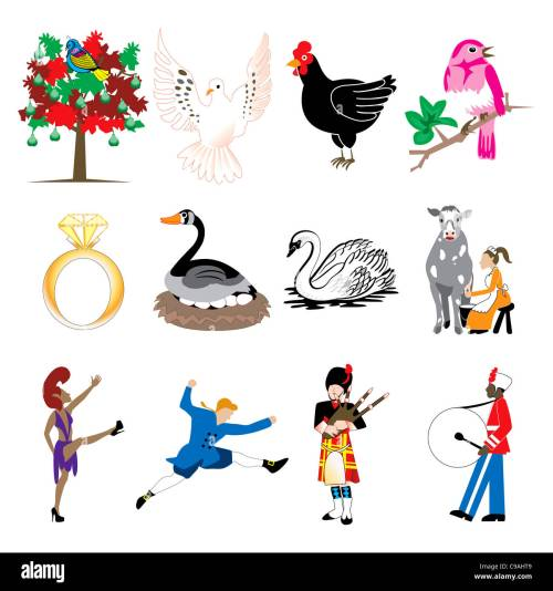 small resolution of vector illustration card of the 12 days of christmas icons in full color stock