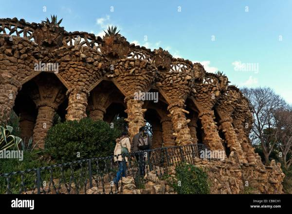 Gaudi Architecture Parc Guell Unesco World Heritage Site Stock 41367453 - Alamy