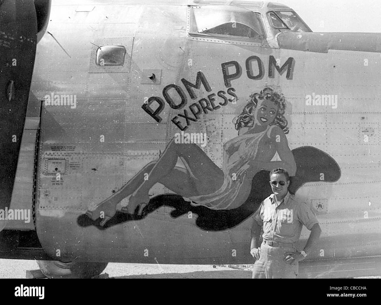 Girl Tshirts Hd Wallpaper Ww11 Usaaf Liberator Nose Art Pom Pom Express Stock Photo