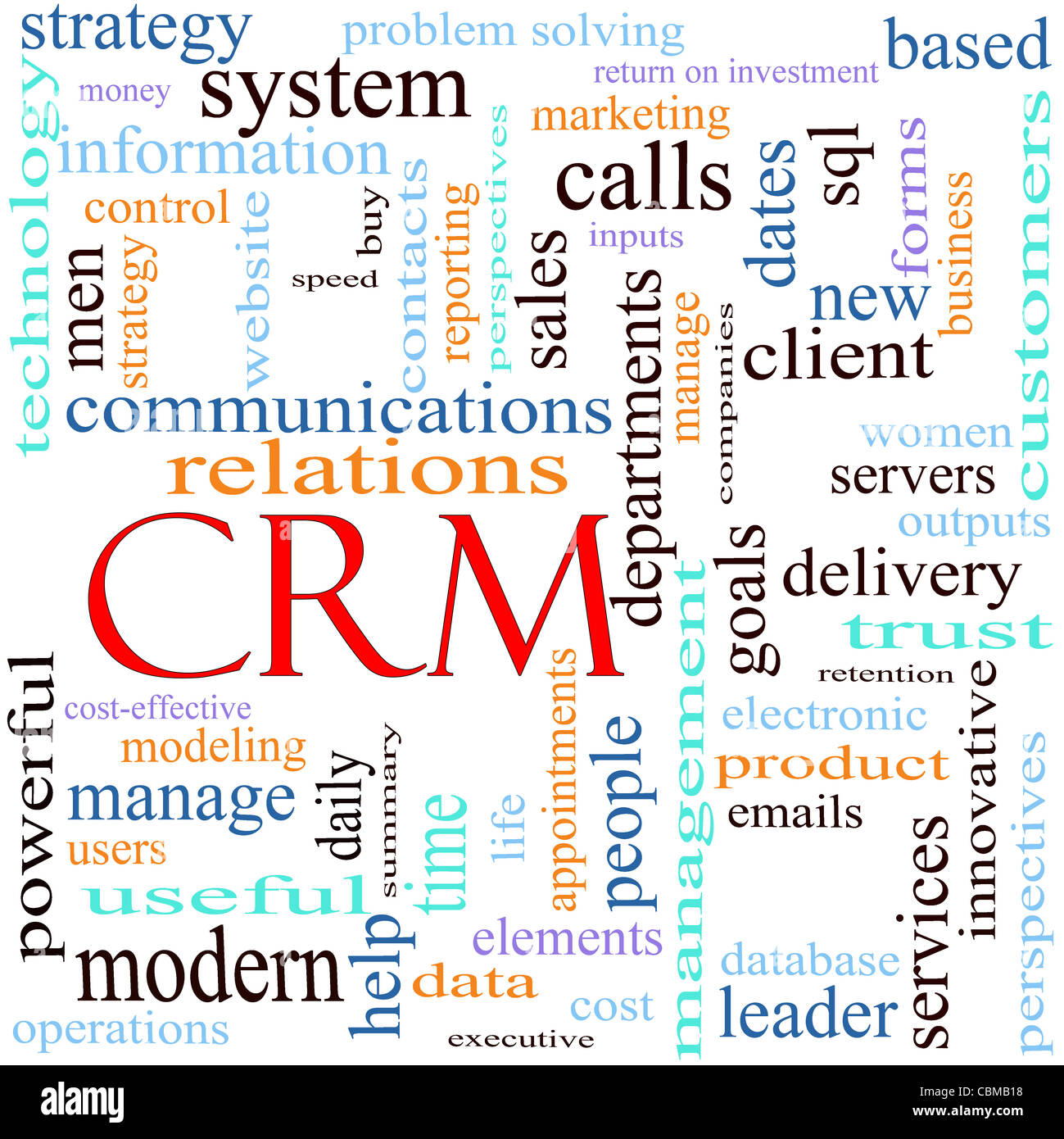 CRM Client Relationship Management system word cloud concept with Stock Photo Royalty Free