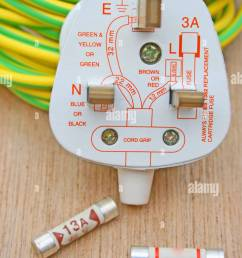 three pin electrical plug with a diagram and fuses and earth wire sleeving  [ 866 x 1390 Pixel ]