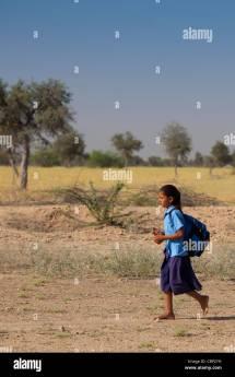 Indian Girl In School Uniform Stock &