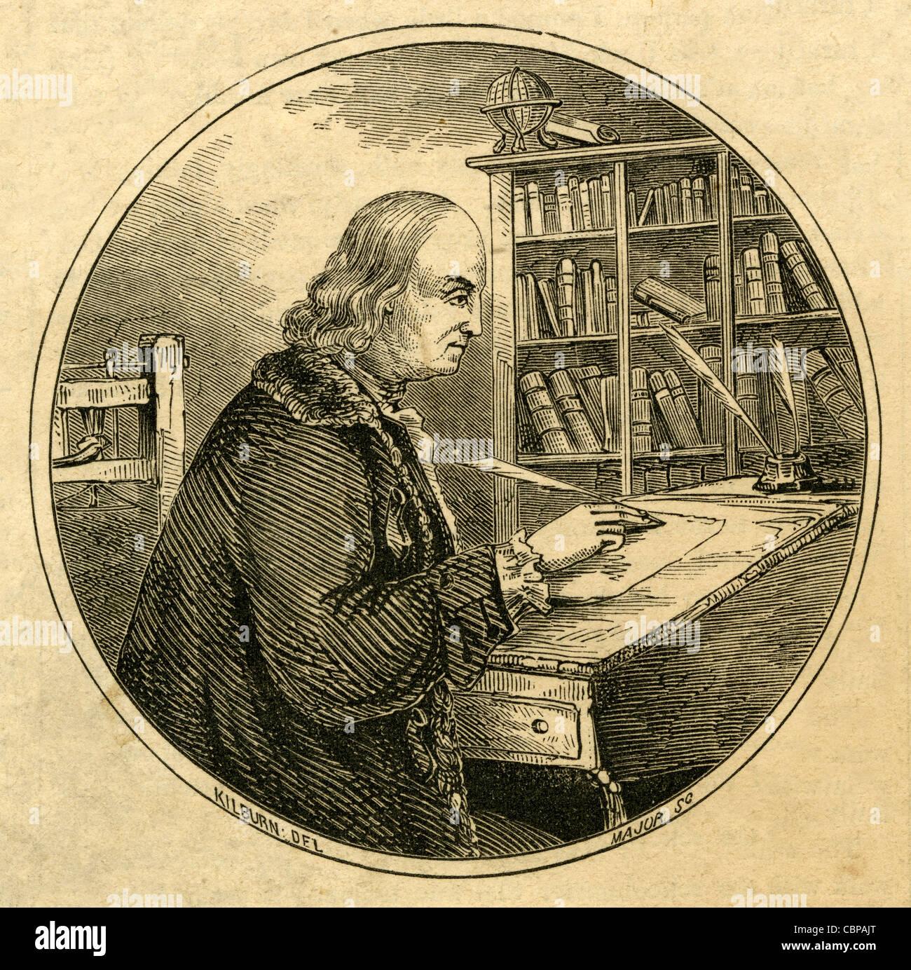 Engraving Benjamin Franklin At His Writing Desk