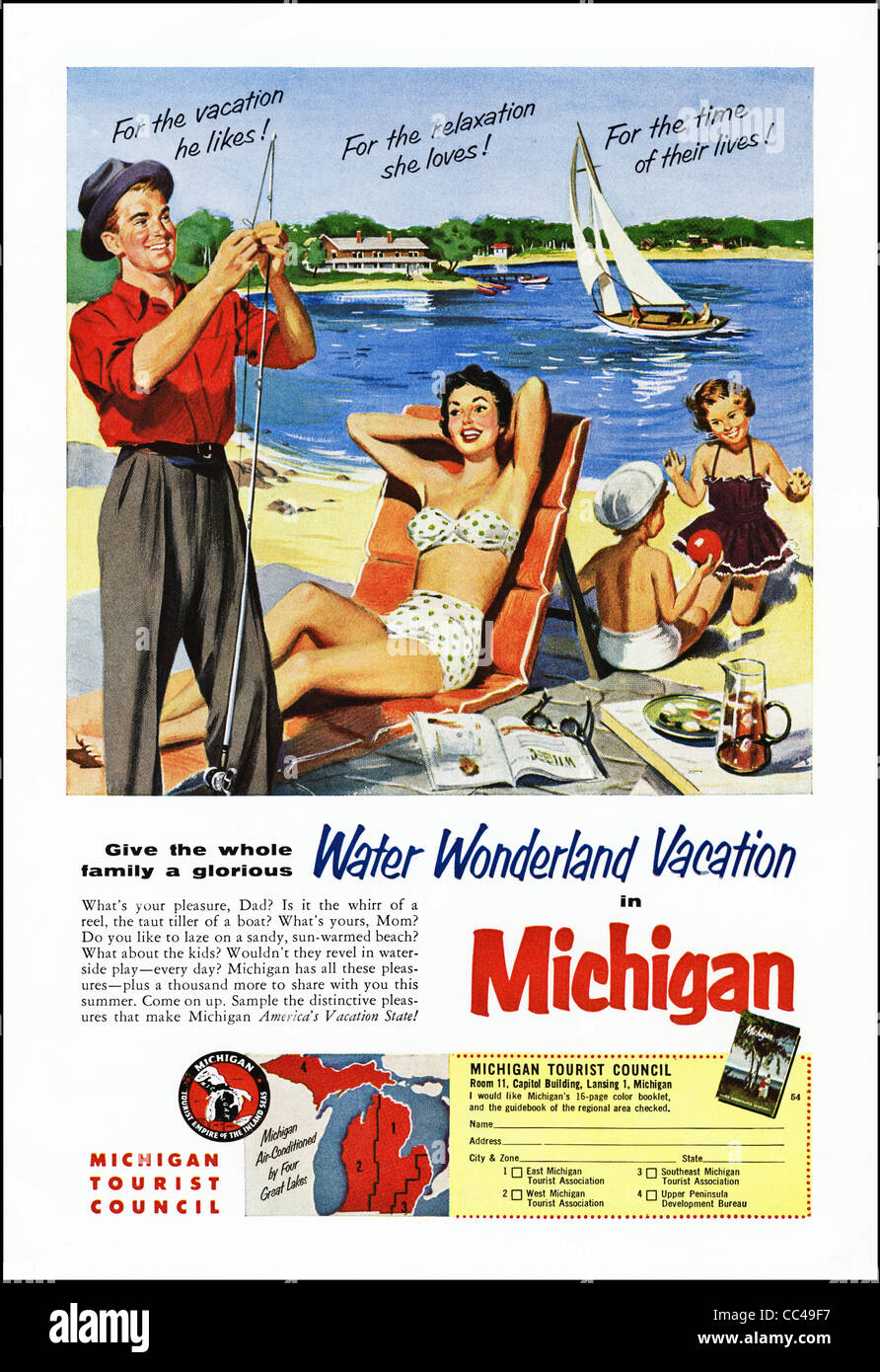 Full Page Advert In American Magazine Cicra 1954 For Vacations In Stock Photo Alamy