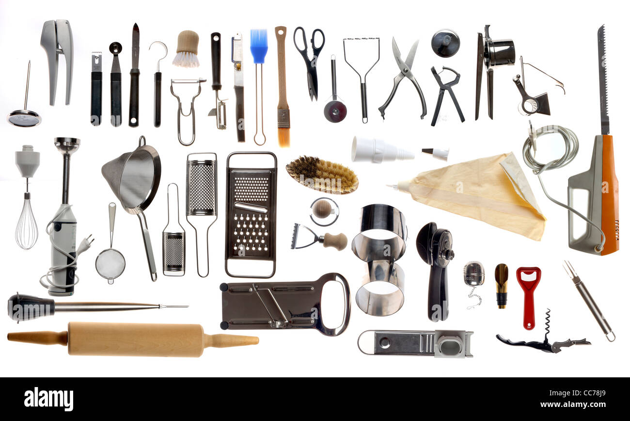 kitchen tools sauder pantry compilation of various utensils stock photo