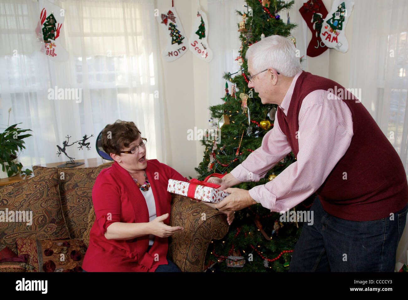 Senior Man Giving Christmas Present To Wife 60 65 Year Old Man Stock Photo Alamy