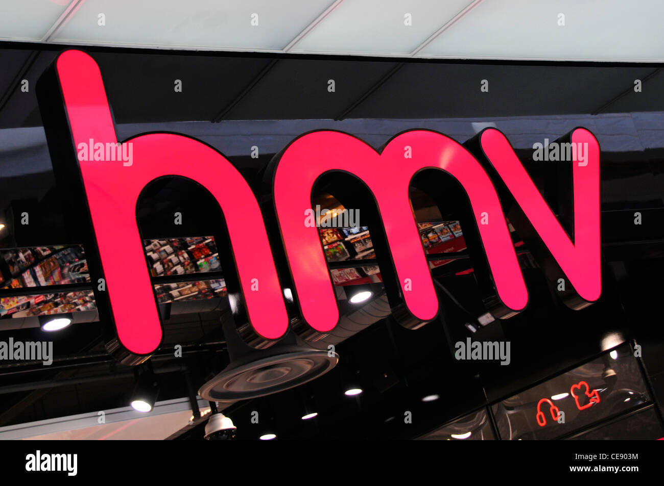 sofaworks westfield stratford sofa bed on cruise ship city branding sign stock photos images hmv uk music retail store shop above entrance in indoor shopping mall