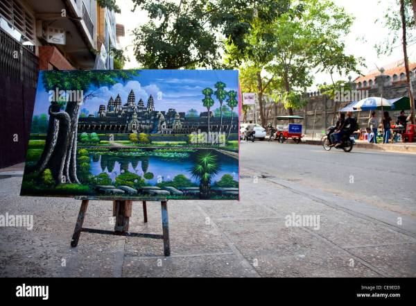 Painting Of Angkor Wat Temple Art Phnom Penh Stock Royalty Free