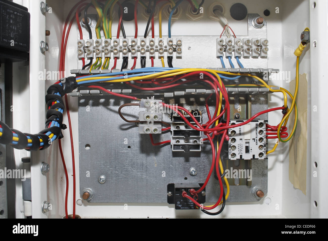 1999 Mustang Fuse Box Diagram Wires Inside Power Supply Box Of Fridge Stock Photo