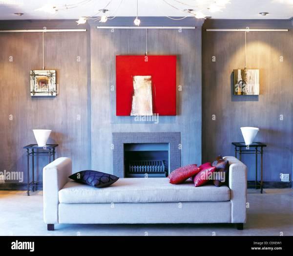 Living Room Slate Grey Coloured Walls Light Daybed