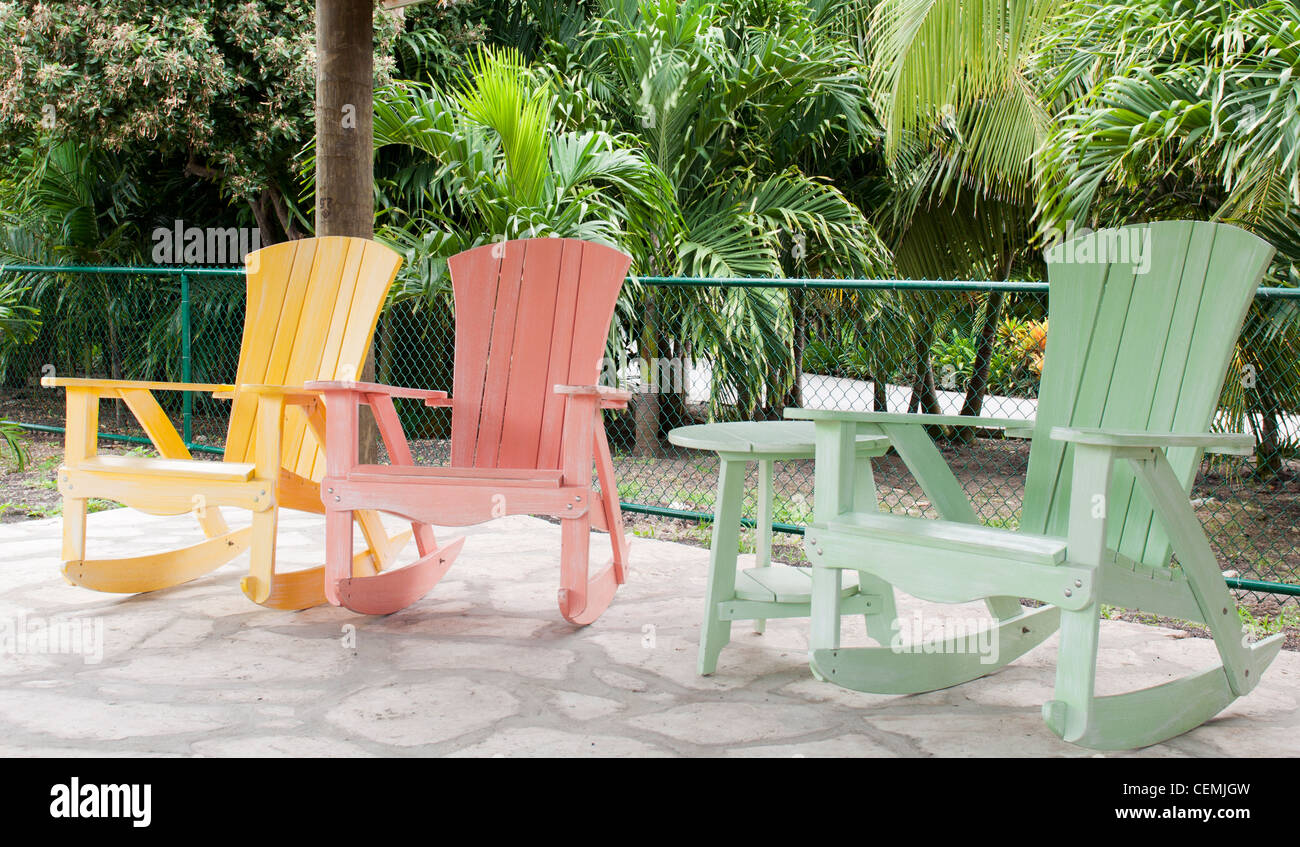 Colorful Wooden Chairs Porch Swing Stock Photos And Porch Swing Stock Images Alamy