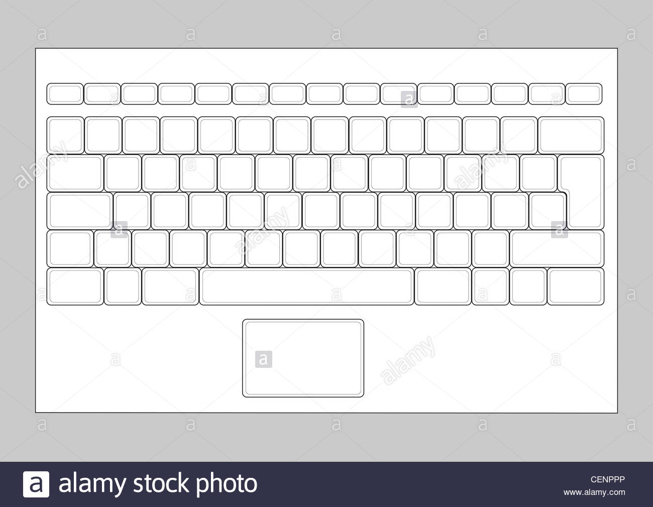 Laptop Blank Keyboard Layout Computer Input Element Stock