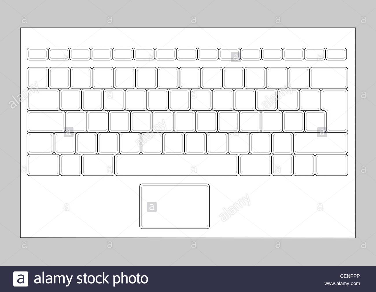 hight resolution of laptop blank keyboard layout computer input element stock image