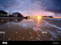 Cromer Pier Sunset North Norfolk Coast Stock