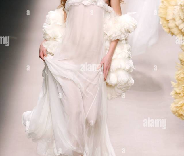 Strappy Transparent White Floor Length Diaphanous Nightgown Accessorized Ruffled Feather Chubbies And Tinted Oversize