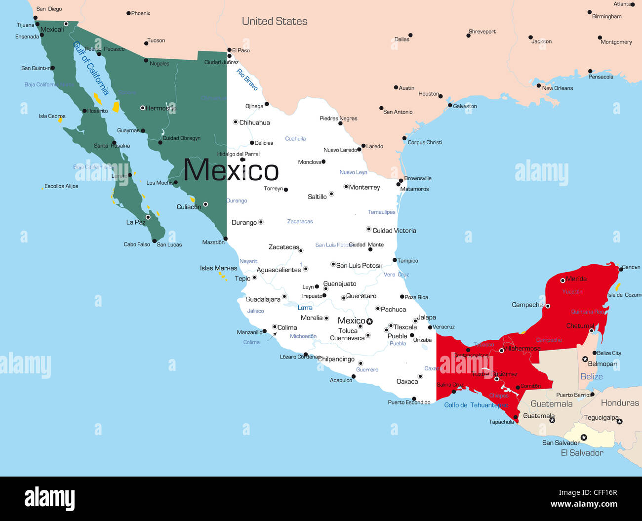 Abstract Vector Color Map Of Mexico Country Colored By