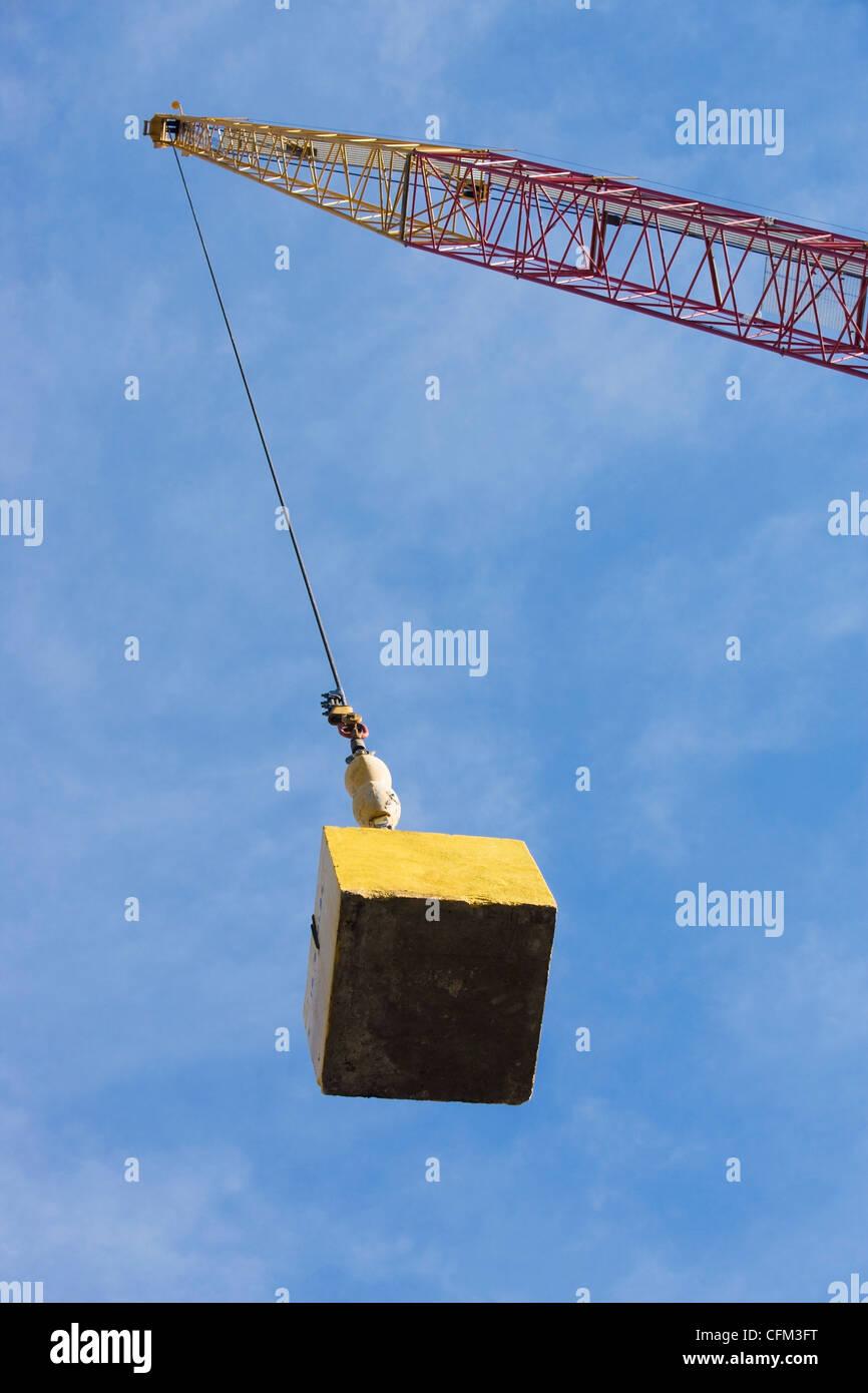 medium resolution of usa new york state new york city crane hook carrying block stock